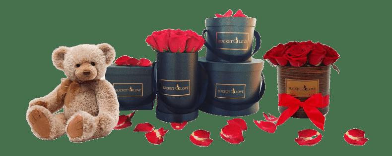 bucket of love - mit teddy und schwarzen Boxen